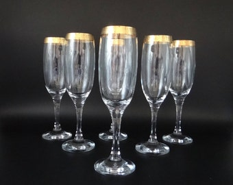 Six Vintage Mid Century Gold Encrusted Champagne Flutes Champagne Glasses -Gold Rim Barware - Mad Men Style Mid Century Barware