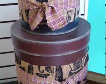 Free Shipping!! Primitive Stacking Cardboard Hat boxes. Farm House, Cottage, Camp, Log Cabin, Rustic Home Decor.