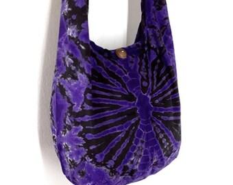 Tie Dye Bag Cotton Bag Hippie bag Hobo bag Boho bag Shoulder bag Sling bag Messenger bag Tote bag Crossbody bag Gypsy Purse Handbags Violet