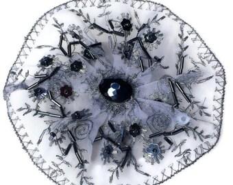 Beaded Silver Kippah, Beaded Yarmulke, Womens Kippot, Silver Kippa