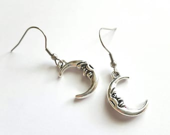 Crescent Moon Earrings with Stainless Steel Earwires - Tibetan Silver