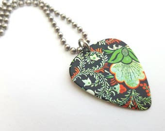 Floral Guitar Pick Necklace with Stainless Steel Ball Chain