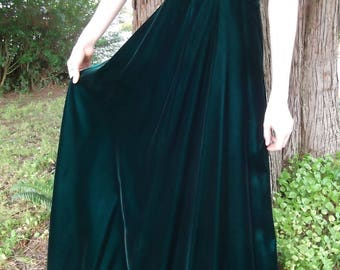 VINTAGE VELVET DRESS 1950's Green Floor Length Size Small