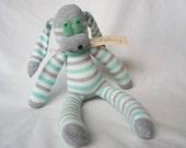 Grey white aqua pastel striped sock rabbit, sock animal, soft plush toy bunny.