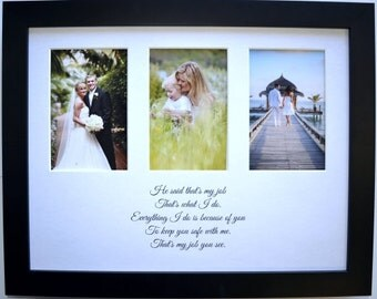 Multiple openings, gift for parents picture photo display, custom photo mat, unique wedding anniversary gift, custom quote, picture mat 3