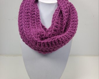 Magenta Infinity Scarf, Cowl- READY TO SHIP