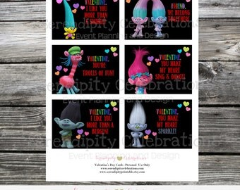 Instant Download, Printable Valentine Cards, Trolls Valentine's Day Cards, Classroom Cards, Kids Valentine Cards, Trolls Valentine stickers