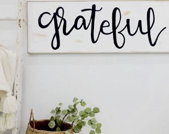 Large grateful black and white rustic wood sign