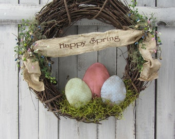 Easter Wreath - Spring Wreath Easter - Spring Decor - Primitive Spring Wreath - Spring Grungy Wreath - Primitive Country Wreath - Easter