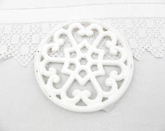 Vintage French Cast Iron White Enamelware Trivet, Hot Plate, Heat Mat, Rustic, Shabby Cottage Kitchen, French Country Decor, Farmhouse