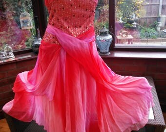 Fantasy fairy style dress Beaded sequined layered soft chiffon over satin Ballgown Bridesmaid prom party uk size 10/12 USA size 6/8