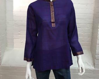 vintage Indian tunic top // purple cotton // embroidered metallic trim // fabindia // 1970s