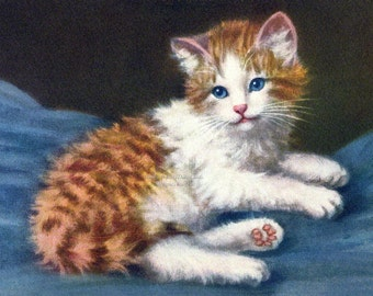 Cat Fabric Block - Orange and White Kitten - Vintage Style - A. Lampe