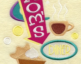 Mom's Diner Embroidered on Made-to-Order Pillow Cover