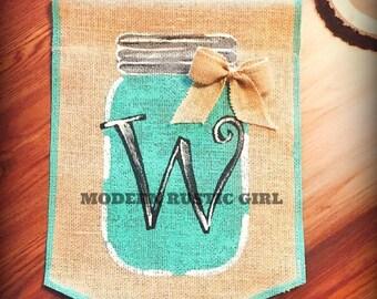 Burlap Garden Flag with Mason Jar, Monogram and Bow