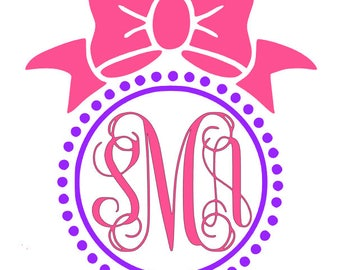 Bow and Pearls Monogrammed Decal