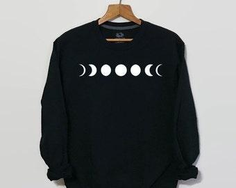 Moon Phase Sweatshirt, Tumblr Sweatshirt, Tumblr Clothing, Grunge Sweatshirt, 90s Grunge Clothing, Women's Sweatshirt