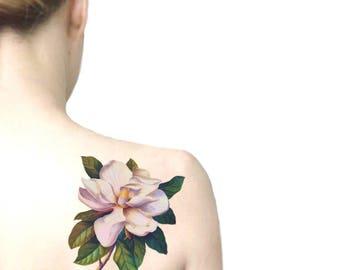Magnolia tatuaggio temporaneo grande / tatuaggio illustrazione floreale / fiori vintage tatuaggio temporaneo / tatuaggio da spalla schiena