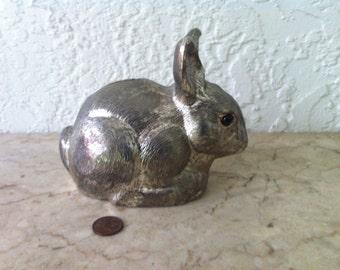 Reed and Barton, Silverplate, Bunny Bank, Tarnish Resistant, Rabbit Bank, Circa 1989, Baby Gift, Easter Gift, Vintage,  Free Shipping