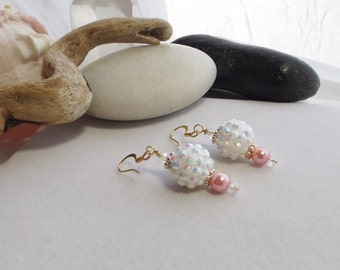 Drop, Dangle, Pink, White, and Gold Chunky Beaded Earrings with Acrylic Bumpy Disco Ball Beads and Glass Beads for Spring, Summer, for Her