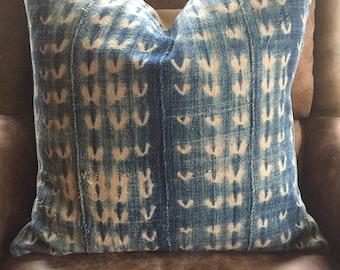 vintage african indigo mudcloth pillow cover