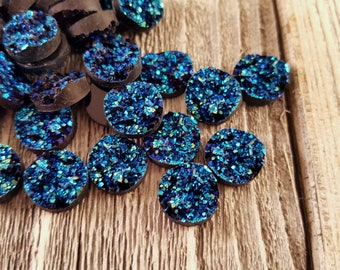 10PCS Electric Turquoise Blue Round Resin Faux Druzy Cabochon 12mm