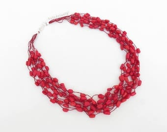 Red coral stone necklace on silk thread, multistrands necklace, hand knitted necklace