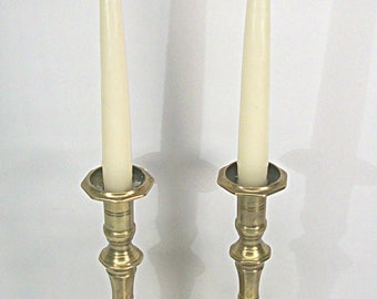 Candlestick Pair Brass Bohemian Farmhouse Table Candle Holders