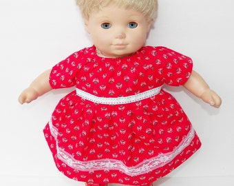 """bitty baby clothes, doll girl or 15"""" twin, heart, dress, peasant, red green white, flower, handmade adorabledolldesigns, floral, lace"""