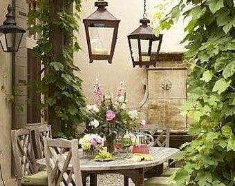 Outdoor hanging lantern chandelier candle lighting patio lamp 19th c. modern Paris Antique street light lanterns garden dining chandeliers