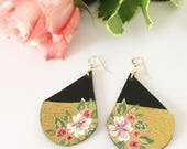 Leather earrings, floral earrings, flower earrings, painted earrings, handpainted earrings, summer accessory, gold dipped earrings, summer
