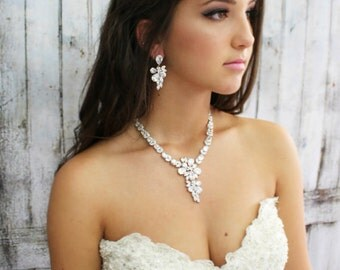Bridal Jewelry Set, Wedding Jewelry, Bridal Necklace, Cubic Zirconia Necklace, Bridal Statement Jewelry, Bridal Necklace, Weddings