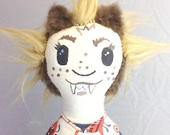 Claudine - a painted cloth monster doll