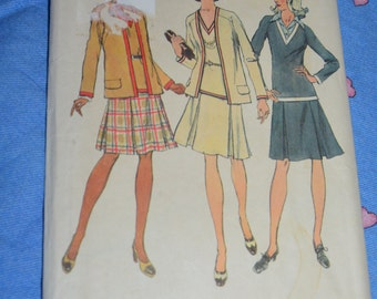 Simplicity 5848  Misses Unlined Cardigan and Two Piece Dress Sewing Pattern - UNCUT - Size 14  Bust 36 Waist 28