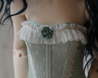Light mint dupioni silk corset for BJD SD Girl