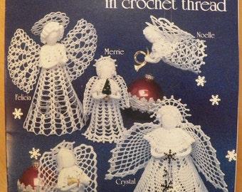 Vintage 1988 CHRISTMAS ANGELS In CROCHET~American School of Needlework~Treetop