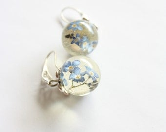 Forget-me-not globe earrings - nature jewelry