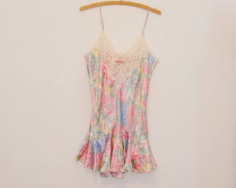 Floral Print Satin Slip with Lace Applique - Early 90s