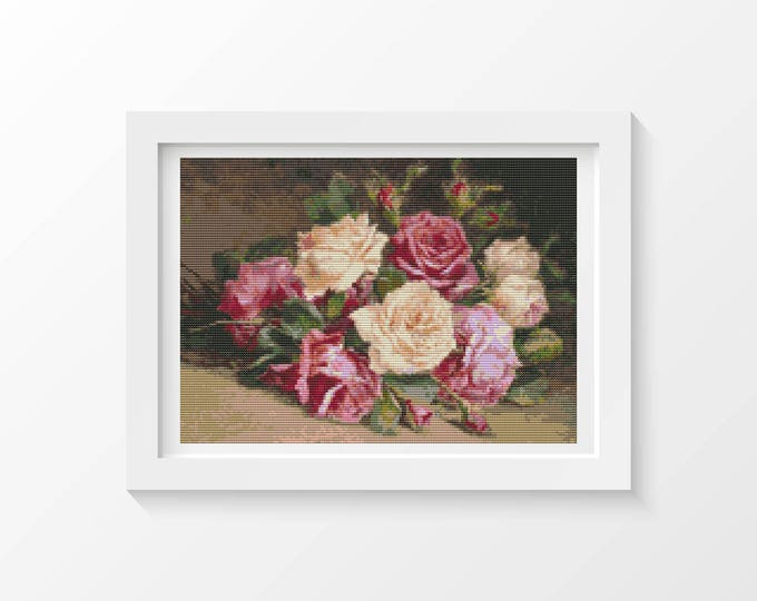 Cross Stitch Kit, Embroidery Kit, Art Cross Stitch, Floral Cross Stitch, Bed of Roses (UNKNO03)