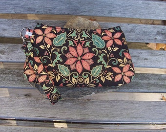 Paisley Poinsetta Wristlet - Clutch Handbag Purse - Holly Leaf Berries Vine - Christmas Holiday Yule Winter - Swoon Coraline