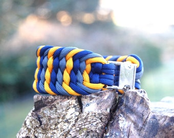 Custom 3 Color Trilobite Paracord Bracelet. Wide Woven Bracelet, Boho Bracelet, Choose Your Colors, Gypsy Bracelet, Western Wear, Braided
