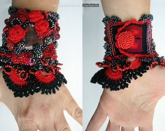 Carmen - Black and Red Crochet Cuff With Tiger Iron Cabochon