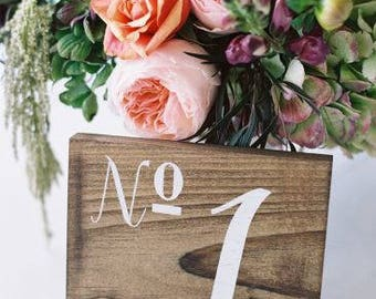 Wedding Table Numbers, Wooden Table Numbers Wedding - Set of 20 - TB-10