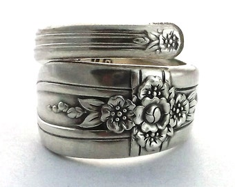 Silver Spoon Ring Triumph 1941 Art Deco Style Silverware Jewelry Floral Flower Cross Christian Easter Upcycled Flatware