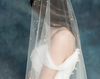 Pearl Wedding Veil, Ivory Bridal Veil, Polka Dot Veil, Tulle Wedding Veil, White Veil, Raw Cut Veil, Modern Veil, Single Tier Veil AMANIE