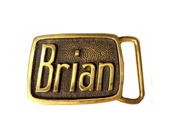 Vintage Brian Name Belt Buckle - Gift Idea - Solid Brass - Personalized