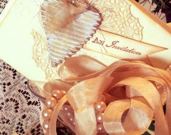 25 Printed Shabby Chic Invitations, Vintage Style Invites, Bridal Shower Invitations, Rustic Invitation,Vintage Style, Handmade Invitation