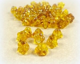 Czech Beads, Baby Bell Flower Beads, Czech Glass Beads - Golden Yellow Celsian (FL/SM-Z8000) - 6x4mm Flower - Qty. 30