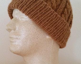 Men's Alpaca Toboggan/Watchman Hat Hand-Knit Medium Fawn