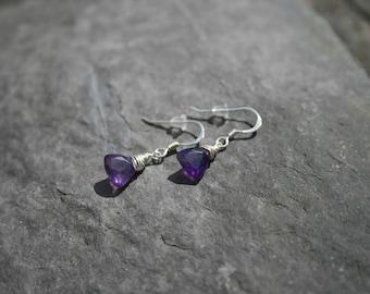 Amethyst Earrings, Silver Amethyst Earrings, Purple Earrings, Sterling Silver Earrings.
